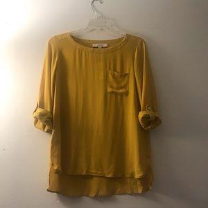 LOFT | bright mustard yellow blouse